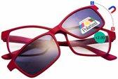Benson Leesbril met magneet zonnebril - Rood - Sterkte +2.00