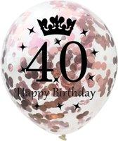 40 Jaar Ballonnen Set - Confetti - 5 stuks - Verjaardag Feest - Versiering - Metallic Rose - 30cm