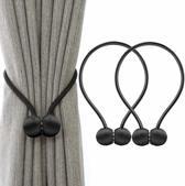 Gordijn embrasse – Gordijnhouder - Magnetisch - Zwart - 40cm lang - 2 stuks per set - Voor alle soorten gordijnen