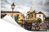 Donkere wolken boven oud-Cartagena Tuinposter 60x40 cm - klein - Tuindoek / Buitencanvas / Schilderijen voor buiten (tuin decoratie)