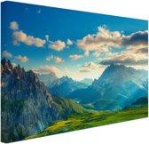 Zonsondergang in de bergen Canvas 30x20 cm - klein - Foto print op Canvas schilderij (Wanddecoratie woonkamer / slaapkamer)