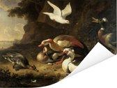 Eenden - Schilderij van Melchior d'Hondecoeter Poster 80x60 cm - Foto print op Poster (wanddecoratie woonkamer / slaapkamer)