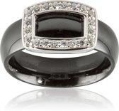 Classics&More Keramieken Ring - Maat 52 - Met Gerhodineerd Zilver En Zirkonia