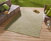 Binnen & buiten vloerkleed ruiten Karo - groen/crème 200x290 cm
