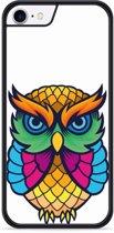 iPhone 8 Hardcase hoesje Colorful Owl Artwork
