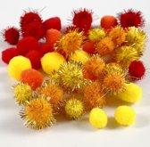 Pompoms d: 15+20 mm geel oranje rood 48div