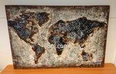 Schilderij World wereldkaart -wandbord metaal 120 cm