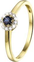 Lucardi 14 Karaat Gouden Ring - Met Saffier en 12 Diamanten - Maat 55