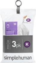 Simplehuman Afvalzak Code K - Voor Pocket Liners - 38 l - Set van 3 x 20 Stuks