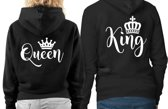 Set van 2 Hippe Valentijn sweaters | King en Queen | kap en rits | kies zelf uw maat