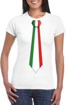 Wit t-shirt met Italie vlag stropdas dames L