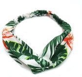 Haarband Leaf Flamingo Wit | Chiffon - Polyester | Elastische Bandana | Fashion Favorite