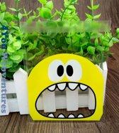50x Transparante Uitdeelzakjes Monster Design Geel 10 x 10 cm met plakstrip - Cellofaan Plastic Traktatie Kado Zakjes - Snoepzakjes - Koekzakjes - Koekje - Cookie Bags Monster
