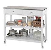 Trolley met roestvrij stalen tafelblad - Keuken - Wit