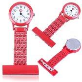 Verpleegster horloge Classic- metaal- ROOD