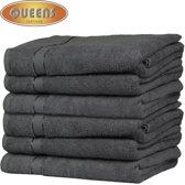Queens Badhanddoek - 6-pack Handdoeken - 500 gr/m2 - 70x140 cm - Antraciet - Handdoek