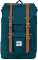 Herschel Supply Co. Little America Mid-Volume Rugzak - Deep Teal / Tan Synthetic Leather