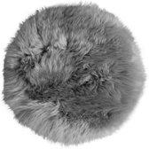 Stoelpad - grijs rond - 34 cm - 100% schapenvacht - stoelzitting