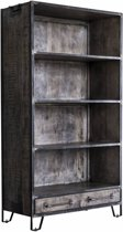 Duverger Ruf Grey Industry - Bibliotheek - 4 leggers - 2 lades - mangohout - leem antiek - smeedijzer