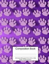 Composition Book 100 Sheets/200 Pages/7.44 X 9.69 In. Wide Ruled/ Purple Dog Paws