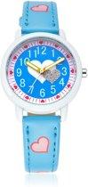 Meisjes Horloge - Hartjes – Leren Bandje – Blauw - Girls Watch