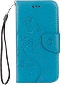 Voor ASUS Zenfone Go ZB500KL Pressed Bloemen patroon horizontaal Flip lederen hoesje met houder & opbergruimte voor pinpassen & portemonnee(blauw)