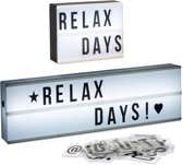 relaxdays 2 x light box - letters en getallen - led lichtbak - lightbox wit - letterbak