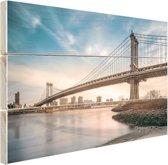Manhattan brug over de East River Hout 60x40 cm - Foto print op Hout (Wanddecoratie)