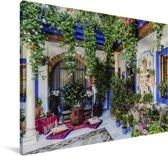 Kleurrijk pleintje in het Spaanse Cordoba Canvas 30x20 cm - klein - Foto print op Canvas schilderij (Wanddecoratie woonkamer / slaapkamer) / Europese steden Canvas Schilderijen