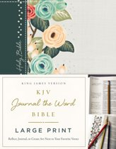 KJV, Journal the Word Bible, Large Print, Cloth over Board, Green Floral, Red Letter Edition