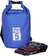 relaxdays Ocean Pack 5 liter - waterdichte tas - droogtas - outdoor plunjezak - zeilen blauw