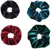 Scrunchies | scrunchie set | 4 stuks |  Zwart | Rood | Groen | Blauw | Scrunchie voor in het haar | Velvet | Haarwikkel | Haarwokkel