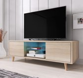 TV meubel dressoir Rivano 140 cm LED verlichting lichtbruin eiken kleur