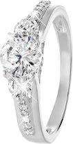 Lucardi zilveren ring met zirkonia - Maat 60