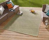 Vloerkleed - In&outdoor - Bougari Raute - Groen,creme - 80x150cm geweven
