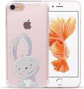 Apple Iphone 7 / 8 Transparant siliconen hoesje (grappig konijntje)