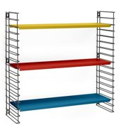 Tomado Boekenrek - 70x21x68 cm - Zwart/Blauw, geel, rood
