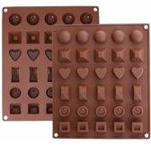 Siliconen Chocoladevorm Mal - 30 chocolaatjes - 6 verschillende vormen - praline/snoep/chocolade vorm