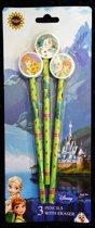 Disney Frozen 3 potloden met gum