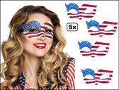 5x Oogmasker USA dames blauw/wit/rood