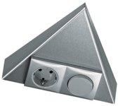 Hera Triangle schakelaar/contactdoos Belgische Aarding.Inox