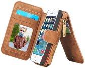CASEME Apple iPhone 5/5/SE Luxe Lederen Portemonnee Hoesje - backcover (bruin)