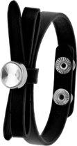 Lucardi - Montini - Zwart byoux armbandje strik met steentje
