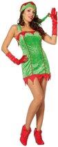 Rood/groene sexy Kerstelf jurk met kerstmuts voor dames 36 (S)