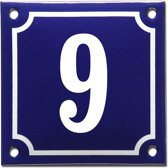 Emaille huisnummer blauw/wit nr. 9