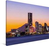 Kleurrijke skyline van Yokohama in Japan Canvas 90x60 cm - Foto print op Canvas schilderij (Wanddecoratie woonkamer / slaapkamer) / Aziatische steden Canvas Schilderijen