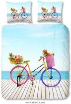 1 persoons dekbedovertrek met een kleurrijke fiets - 4819-P (140x200/220 cm + 1 sloop)