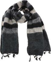 MoreThanHip Pina - brede 'yakwol' sjaal of omslagdoek van – zwart/grijs gestreept