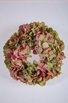 Viv! Home Luxuries Hortensia krans - zijde - roze groen - herfst - 30cm - topkwaliteit