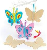 Houten 3D-vlinders voor kinderen om te maken en versieren - Leuke knutselset voor kinderen (6 stuks per verpakking)